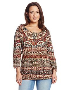 Lucky Brand Women's Plus-Size Studded Blouson Top, Multi, 1X - http://www.womansindex.com/lucky-brand-womens-plus-size-studded-blouson-top-multi-1x/