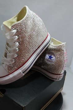 4a63875b319a Off Brand Wedge Full Bling Wedding Sneakers- Bridal Sneakers- Custom  Wedding Sneakers- Wedding Wedge Sneakers- hochzeit- Non Converse Brand
