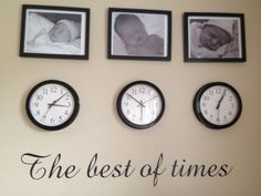 My newborn wall. I have better quality pics to go in the frames on the way but I was excited to get started! Newborn pics, clocks with their time of birth & custom wall decal.
