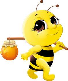 Cute bee with honey Jar vector 02 Cartoon Bee, Cartoon Pics, Cute Cartoon, Honey Bee Cartoon, Happy Cartoon, Bee Pictures, Cute Bee, Bee Art, Bee Happy