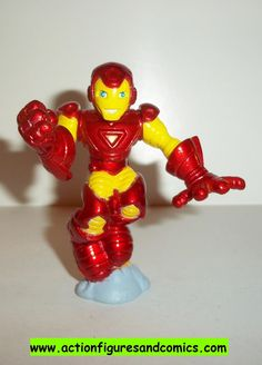 Marvel Super Hero Squad IRON MAN complete yellow red BLAST OFF movie 2 pvc action figures