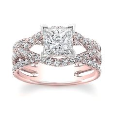 1.50 carat Princess Cut Diamond Halo Design Engagement Ring 14k Rose Gold