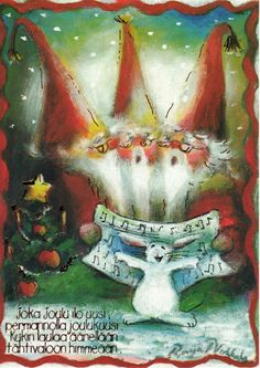 Raija Nokkala....sweet in any language / Christmas Card Art - Postcard - Posters