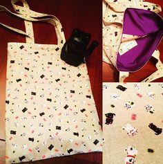 Tote bag con tela japonesa estampada con gatitos de la suerte para que todo te vaya genial en tu día