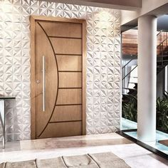 Tipos de portas: porta de abrir de madeira na fachada Modern Wooden Doors, Wooden Front Doors, The Doors, Glass Front Door, Wood Doors, Wooden Windows, Main Entrance Door Design, Front Door Entryway, Entrance Doors