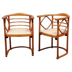Pair of Vienna Secessionist Arm Chairs by Josef Hoffmann | From a unique collection of antique and modern armchairs at http://www.1stdibs.com/seating/armchairs/