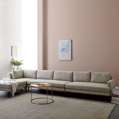 west elm Andes 4-Piece Chaise Sectional - Stone (Twill)