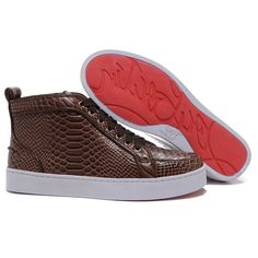 e13486b2953 Discount Christian Louboutin Louis Python High Top Womens Sneakers  Brown it s awesome
