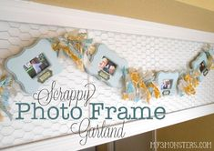 decorating with family photos, scrappy frame garland