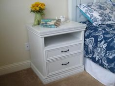 DIY Nightstands $80 for two. I plan to add a charging area on the shelf. Simply cut a hole in the back for my ipad and iphone cords to keep the top clear. :) #diy #chargingtable #nightstand