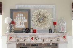 Valentine's Day: Rustic Chic Valentine's Day Mantel Decor