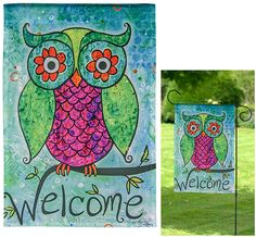 Welcome Owl Garden Flag at The Animal Rescue Site