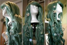 mermaid hair with sparkle extensions and starfish