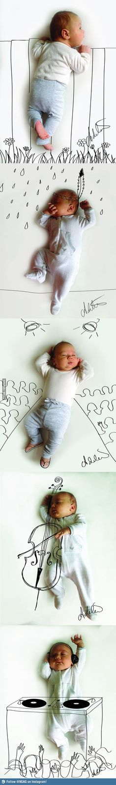 DIY: photographing babies, with your own art - great ideas for the wee ones called When My Baby Dreams by Adele Enersen