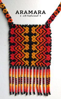 Huichol mexicana naranja y rojo collar COM-0011 Huichol por Aramara