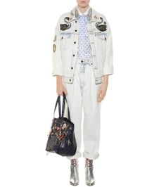 Marc Jacobs - Veste en denim bleu ciel délavé à ornements multicolores