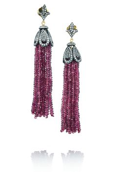 ARTISAN  |  Sterling Silver, Diamond and Tourmaline tassel Earrings Accented with a fleur-de-lis stud, Artisan's Sterling Silver Earrings exude Regal Elegance. This mid-weight pair is encrusted with 2.87-carat Diamonds and features a waterfall of richly hued 97.7-carat Tourmalines. Thanks to the supportive 18-karat Gold butterfly fastening, this tassel style will comfortably stay in place.   6,015.00 USD