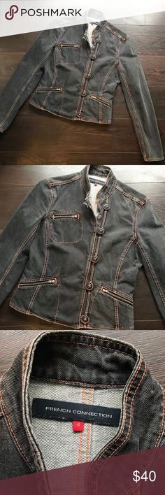 French Connection FCUK grey jean jacket - Size 4 French Connection FCUK grey jean jacket - Size 4. EUC. No damage or wear. Bad ass jacket. A little steampunk/military chic. Threading is orange and details are rad.  ❤️Offers are great! Please remember Poshmark takes 20% 🖤Sorry no trades ❤️Fast shipper 🖤Please accept your packages on the app as soon as you receive them. ❤️make sure to read all descriptions and note condition before you buy. 🖤Bundle your likes for special offer! French…