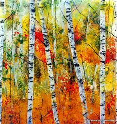 Birches in Autumn, by Ann Cavanaugh Fused Glass.  Outstanding at Wild Arts Festival, Portland OR, Nov 2012.