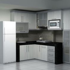 Model Kitchen Set L Mini Untuk Dapur Mungil 8 Dinding Warna Krem