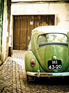 Green VW beetle...