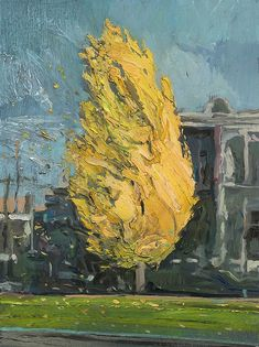 Shaun Tan - Yellow tree on a windy day, Parkville, oil 20 x 15cm