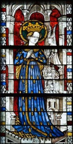 Religious medieval stained glass window in cloister New York - details Stock Photo - 5012948