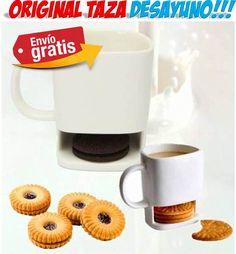 #regalos #regalosoriginales #tazas #gadgets #hogar #cocina  #yougamebay Tazas de desayuno con diseños originales para regalar. Taza para desayunar con agujero para las galletas. Ahora podrás desayunar incluso de pie!!!
