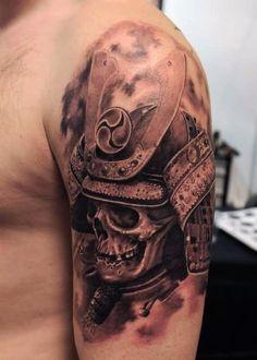Realistic Samurai Warrior Tattoo On Left Shoulder