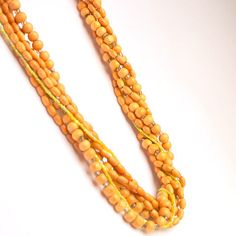 Beaded chunky long necklace  with sandalwood and by sianykitty, $40,00