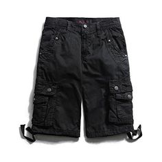 Men's Casual Summer Shorts Cargo Drawstring Waist 100% Cotton Shorts for Mens with Multi-pockets Shorts