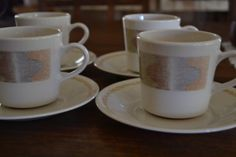 $20***Corelle Mirage Pattern Cup and Saucer - set of 4***For more unique items please visit: http://www.etsy.com/shop/TsEclecticCorner