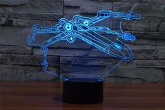 CREATIVE Star Wars X Wing 3D LED Light Lamp - Illuminates in 7 colors: (press the button to change the colors). - 7 Color Changeable: Red, Green, Blue, Yellow, Cyan, Pink, White Automatically color ch