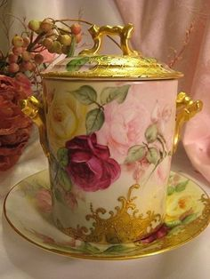 Limoges France Condensed Milk Set Container Jar with Underplate ~ Creme de la Creme ~ Hand Painted ROSES Heavy Raised Gold Paste ~ Delinieres Co Circa 1890 Antique Dishes, Antique China, Vintage China, Vintage Tea, Vintage Cups, Vintage Dishes, Art Nouveau, Barris, Limoges China