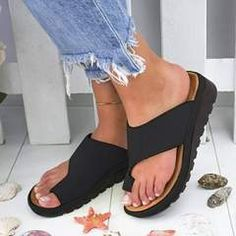 Buy Women PU Leather Shoes Comfy Platform Flat Sole Ladies Casual Soft Big Toe Foot Correction Sandal Orthopedic Bunion Corrector at Wish - Shopping Made Fun Black Sandals, Women's Shoes Sandals, Wedge Sandals, Sandals Platform, Toe Shoes, Slide Sandals, Shoes Sneakers, Boho Sandals, Fashion Sandals