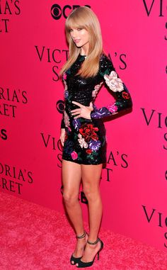 Taylor Swift shows off her figure in a tight, floral-beaded minidress by Zuhair Murad. #fashion