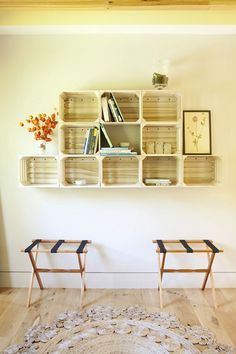 I love finding old wooden crates, palates or wine boxes and upcycling them into shelves and storage. Such a cool way to add storage to a wall and can be just one box or many. Also great for babies rooms for books, diapers, toys, and pictures. 9. Up-cycle/repurpose project #NaturalBabyCo #NaturalInspiration