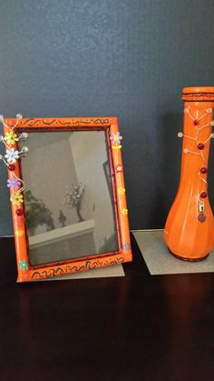 Vase 9 Inches Frame 5x7 Inches Brown Orange Set Glass Vase Wooden Frame Tibetan Silver Swarovski Crystals by Uniquelymade1431 on Etsy