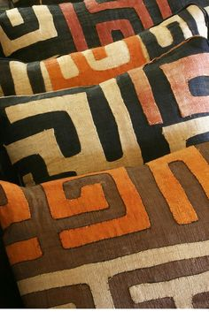 African Kuba Cloth Pillows from the Congo.