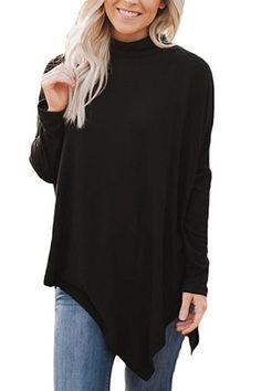Round Neck Irregular Collar Plain T-shirt #Irregular, #affiliate, #Neck, #Collar, #shirt #Adver