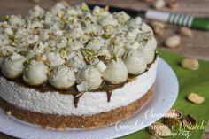Cheesecake+al+Cioccolato+bianco+e+Pistacchi,senza+cottura