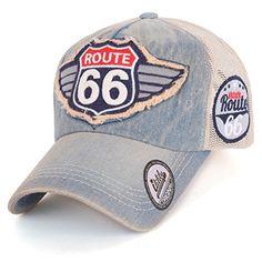 ililily Route 66 Wing Logo Patch Denim Mesh Back Snapback Hat Baseball Cap (Medium, Medium Blue/Leather) Wash Baseball Cap, Baseball Hats, Route 66, New Balance Suede, Men's Accessories, Denim Cap, Hats For Men, Hat Men, Wings Logo