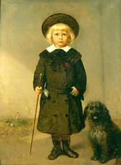 Louis Gallait (Belgian, 1810–1887) . with a dog