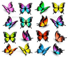 My works are fully editable, vector objects se… Colorful butterflies set. My works are fully editable, vector objects separated and grouped, gradient mesh used. If you ne Colorful Butterfly Tattoo, Butterfly Tattoo Designs, Butterfly Pictures, Butterfly Nail, Butterfly Painting, Butterfly Wallpaper, Butterfly Colors, Simple Butterfly, Bild Tattoos