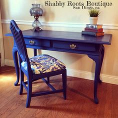 NO SHIPPING*** LOCAL PICK UP/ DELIVERY ONLY*** located in San Diego, ca 92110*** ** Sorry, this set has SOLD** A beautiful Queen Anne desk and chair. Chalk painted in a matte (almost navy) rich cobalt blue color. Gold original brass hardware. Waxed and sealed for long lasting protection. The chair was painted to match and reupholstered in a modern floral fabric. Two smooth drawers for extra storage. Plenty of surface space, You could even fit two computer monitors on top if you choose to…