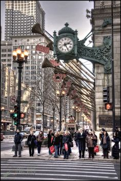 The Marshall Field's clock, corner of State Street and Randolph, Chicago
