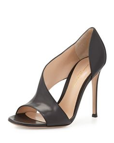 Leather Open-Side Sandal, Black by Gianvito Rossi at Neiman Marcus.