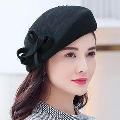 0e152d42233eea Elegant plain bow beret hat for women bead wool winter hats