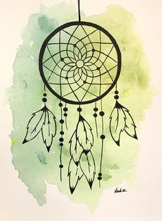 Original watercolor, dreamcatcher, made on watercolor paper 140 lbs. Will be sent without frame, signed in the front and dated in the back. Packaged with hard cardboard for protection. Please contact me for international delivery. Doodle Art Drawing, Mandala Drawing, Cool Art Drawings, Pencil Art Drawings, Art Drawings Sketches, Easy Drawings, Dream Catcher Sketch, Dream Catcher Painting, Dream Catcher Art