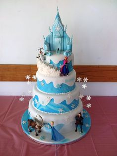 4 tier Frozen cake 4 tier Frozen cake Gift suggestions: Christmas is coming Christmas or the Christ event, the Festival of lights, the Food. Anna Frozen Cake, Frozen Party Cake, Frozen Castle Cake, Disney Frozen Cake, Disney Frozen Birthday, Elsa Birthday Cake, Frozen Themed Birthday Cake, 5th Birthday, Pastel Frozen